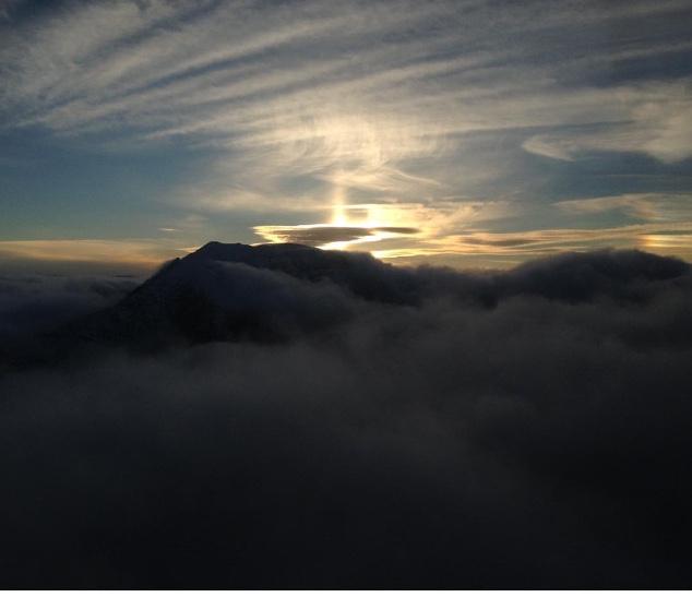 Katahdin cloudy, winter sunset